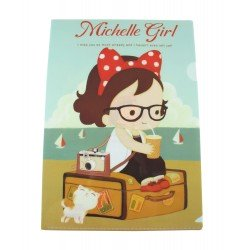 Chemise documents A4 kawaii Petite fille Michelle à la plage
