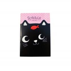 Carnet kawaii chat noir et poisson rouge