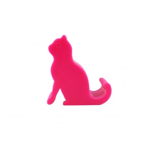 Support téléphone kawaii silhouette de chat rose