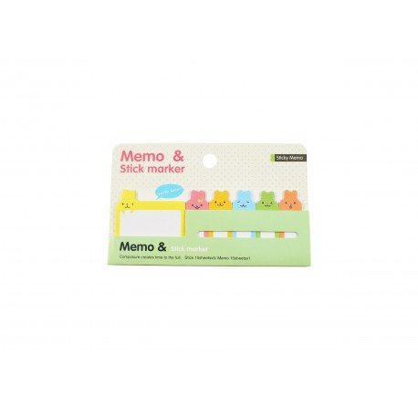 Kit bloc notes memo et marques pages repositonnables kawaii lapin jaune
