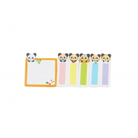Kit bloc notes memo et marques pages repositonnables kawaii panda et feuilles