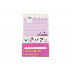 Kit bloc notes memo et marques pages repositonnables kawaii fantôme