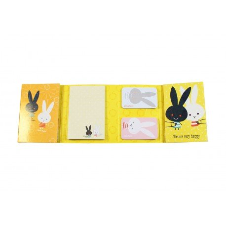Kit bloc notes memo et marques pages repositonnables kawaii lapin peluche