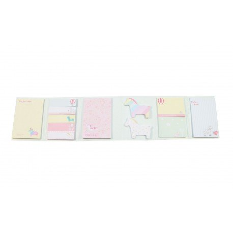 Kit bloc notes memo et marques pages repositonnables kawaii douce enfance