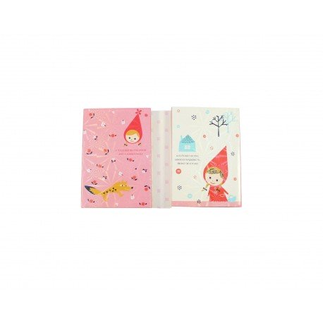 Kit bloc notes memo et marques pages repositonnables kawaii chaperon rouge et lapin