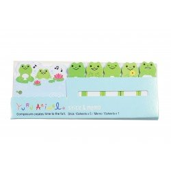 Kit bloc notes memo et marques pages repositonnables kawaii grenouilles