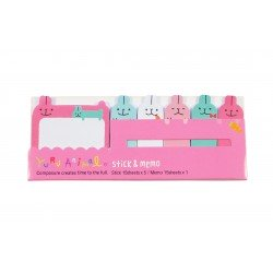 Kit bloc notes memo et marques pages repositonnables kawaii lapins