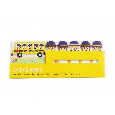 Kit bloc notes memo et marques pages repositonnables mignon Bus et écoliers