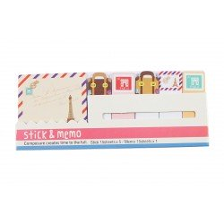 Kit bloc notes memo et marques pages repositonnables mignon Paris et valise vintage