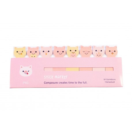 Mini notes marques pages repositionnables kawaii Animaux Cochon