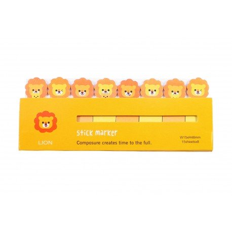 Mini notes marques pages repositionnables kawaii Animaux Lion