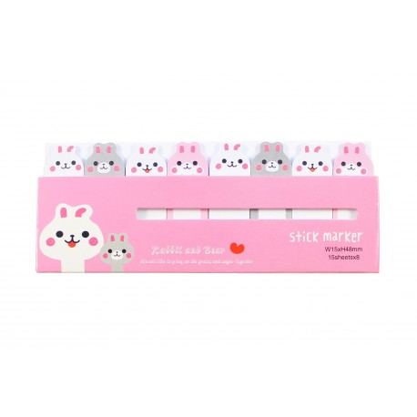 Mini notes marques pages repositionnables kawaii Animaux Lapin