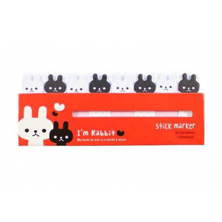 Mini notes marques pages repositionnables kawaii lapin noir & blanc