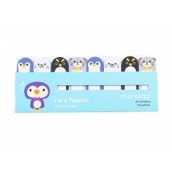 Mini notes marques pages repositionnables kawaii Animaux Pingouin et Lion de mer