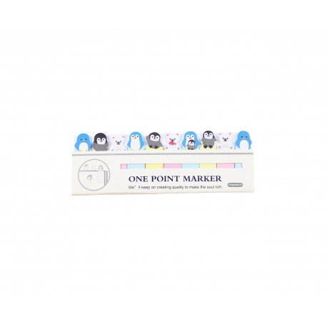 Mini index marques pages repositionnables kawaii Pingouin et ours polaire blanc
