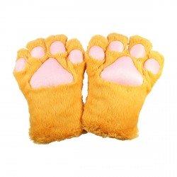 Gant peluche géant patte de chat jaune kawaii