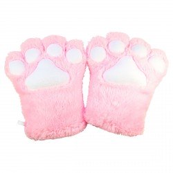 Gant peluche géant patte de chat rose kawaii