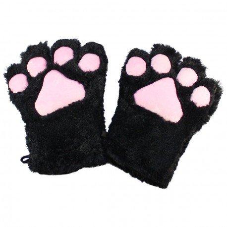 Gant peluche géant patte de chat noir kawaii