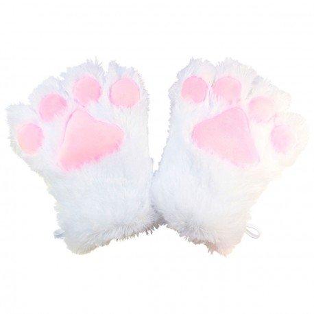 Gant peluche géant patte de chat blanc kawaii