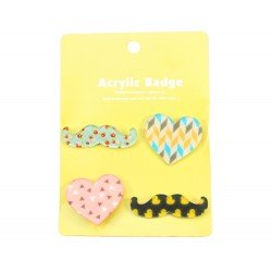 Badge kawaii Coeur et Moustache