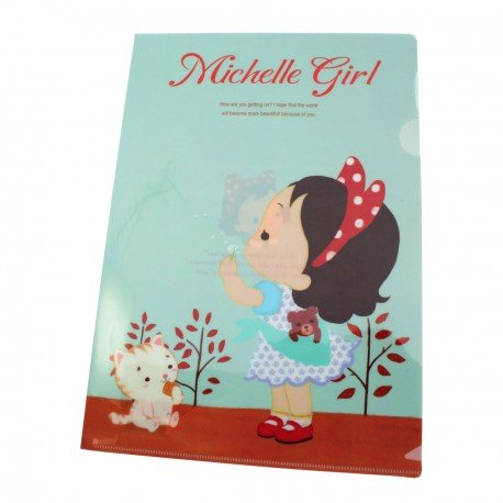 Chemise documents A4 kawaii Petite fille Michelle et les fleurs