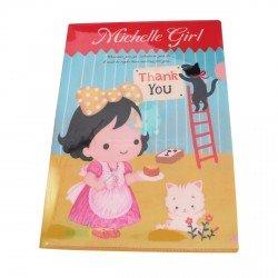 Chemise documents A4 kawaii Petite fille Michelle en robe rose