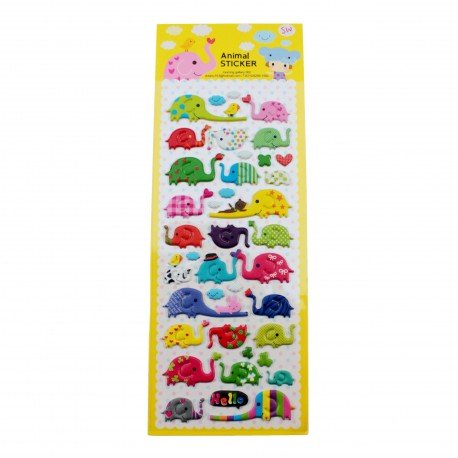 Sticker - Éléphants multicouleurs
