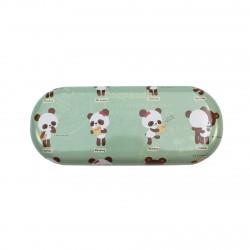 Boîte de lunettes kawaii Coo Panda bleu