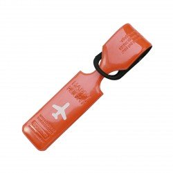 Porte-Etiquette nom & adresse bagage Happy flight orange brillant
