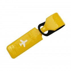 Porte-Etiquette nom & adresse bagage Happy flight jaune brillant