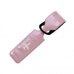 Porte-Etiquette nom & adresse bagage Happy flight rose brillant