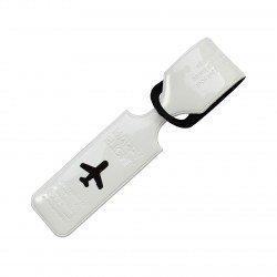 Porte-Etiquette nom & adresse bagage Happy flight blanc brillant