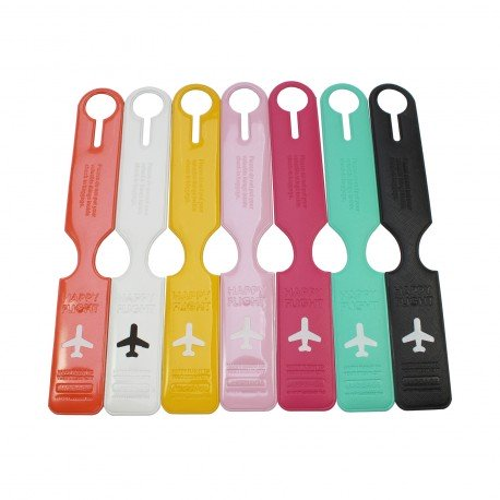 Porte-Etiquette nom & adresse bagage Happy flight blanc brillant