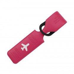 Porte-Etiquette nom & adresse bagage Happy flight fushia mat