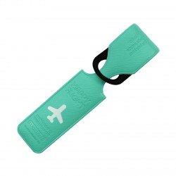 Porte-Etiquette nom & adresse bagage Happy flight vert mat