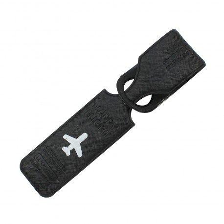 Porte-Etiquette nom & adresse bagage Happy flight noir mat