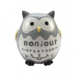 Tirelire kawaii hibou gris