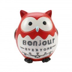 Tirelire kawaii hibou rouge