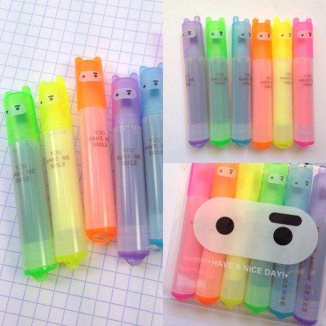 Surligneurs fluorescents kawaii mini Ninja