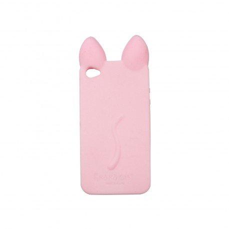 Coque étui téléphone souple pour iphone 4 et 4s Kokocat rose claire avec les oreilles