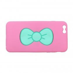 Coque étui téléphone rose avec support noeud de papillon pour iphone 6
