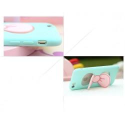 Coque étui téléphone bleu avec support noeud de papillon pour iphone 5, 5s et iphone SE