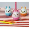 Taille crayon kawaii - Petit lapin culbuto bleu