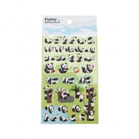 Sticker 3D kawaii panda dans le zoo