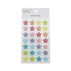 Sticker 3D kawaii étoiles couleur pastel