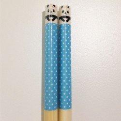 Baguettes kawaii tête de mini Panda bleu