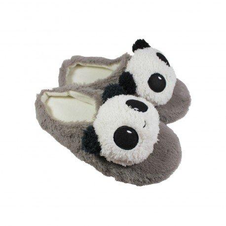 ec9b7cd2cf00c Chausson pantoufle kawaii Panda gris - Belle De Coeur
