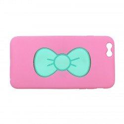 Coque étui téléphone rose avec support noeud de papillon pour iphone 6 +