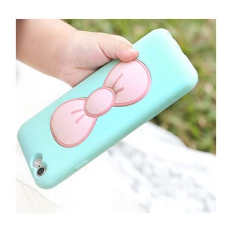 Coque étui téléphone bleu avec support noeud de papillon pour iphone 6 +