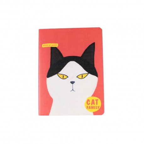 Carnet kawaii - Cat family chat bicolore